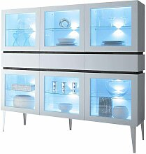 Glas Highboard in Weiß LED Beleuchtung