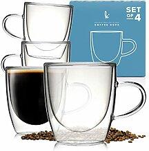 Glas-Kaffee- oder Teetassen Trinkgläser Set von 4