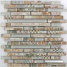 Glas Keramik Mosaik Bellevue Braun Bricks