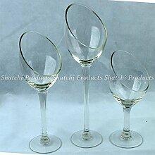 Glas Kerze Vase Halter Aufsteller Weihnachten Hochzeit Home Dekoration Set von 3