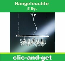 GLAS KRISTALL PENDELLEUCHTE LAMPE 5 FLAMMIG BALKEN