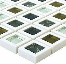 Glas Kunststoff Mosaik Fliesen Anatolia Grün Weiss