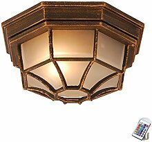 Glas Leuchte Fernbedienung Alu Decken Lampe Außen Wand Strahler im Set inkl. RGB LED Leuchtmittel