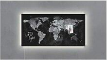 Glas-Magnettafel »Artverum LED light Worldmap«