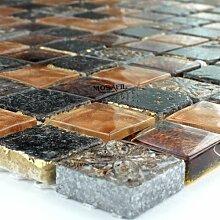 Glas Marmor Mosaik Fliesen 23x23x8mm Gold Braun