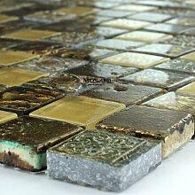 Glas Marmor Mosaik Fliesen 23x23x8mm Gold Gelb