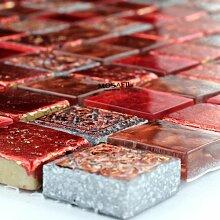 Glas Marmor Mosaik Fliesen 23x23x8mm Lava Ro
