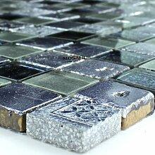 Glas Marmor Mosaik Fliesen 23x23x8mm Lila Grau