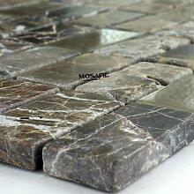Glas Marmor Mosaik Fliesen 23x48x8mm Castano Mix