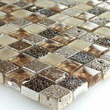 Glas Marmor Mosaik Fliesen Braun Beige Glasmosaik