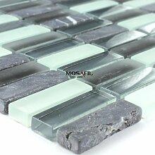 Glas Marmor Naturstein Mosaik Fliesen 15x48x8mm