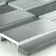 Glas Metall Mosaik Fliesen Silber Mix