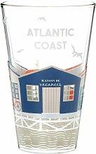 Glas mit aufgedruckten bunten Fischerhütten