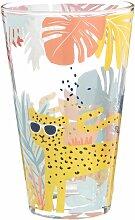 Glas mit bunten Mustern