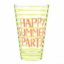 Glas mit gelben und orangefarbenen Mustern
