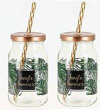 Glas mit Strohhalm und Deckel 'Jungle