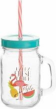 Glas mit Tropendruck und Strohhalm