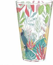 Glas mit tropischem Druckmotiv