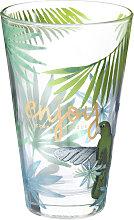 Glas mit tropischem Druckmuster ENJOY TROPICAL