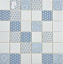 GLAS Mosaik ECO blau Wand Küche Dusche Bad