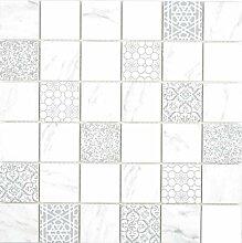 GLAS Mosaik ECO Carrara Wand Boden Küche Dusche
