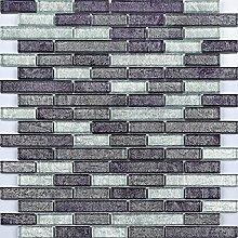 Glas Mosaik Fliesen 30cm x 30cm Matte Schwarz und