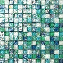 Glas Mosaik Fliesen in Grün, Blau, Weiß und mit