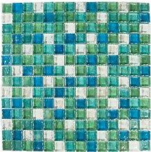 Glas Mosaik Fliesen Matte in Grün, Blau, Weiß