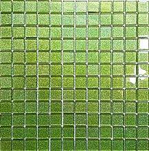 Glas Mosaik Fliesen Matte in Grün mit Glitzer