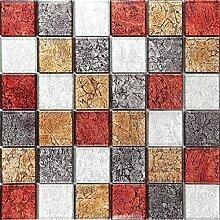 Glas Mosaik Fliesen Matte in Rot, Bronze, Silber