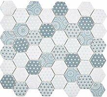 GLAS Mosaik Hexagon Sechseck ECO blau Wand Boden