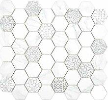 GLAS Mosaik Hexagon Sechseck ECO Carrara Wand