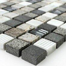 Glas Naturstein Mosaik Fliesen Isola Grau Braun