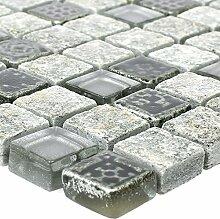 Glas Naturstein Resin Mosaikfliesen Zimtente Grau