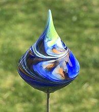 Glas-Objekt Kreisel auf Stab blau Glas H 139 cm
