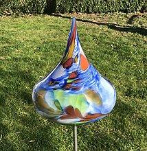 Glas-Objekt Kreisel auf Stab blau Glas H 143 cm