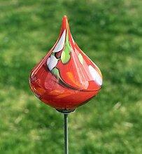 Glas-Objekt Kreisel auf Stab rot Glas H 139 cm