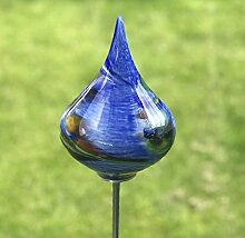 Glas-Objekt Kreisel mit Stab blau Glas H 136 cm