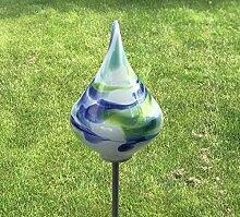 Glas-Objekt Kreisel mit Stab Mint Glas H 136 cm