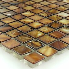 Glas Perlmutt Effekt Mosaik Braun Gold Glasmosaik