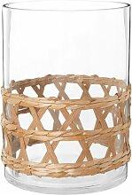 Glas-Rattan-Vase H25