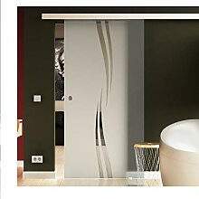 Glas Schiebetür 205x102,5 cm Dessin. Welle (A)