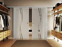 Glas Schiebetür 217,5x205 cm Dessin. Welle Design