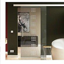 Glas-Schiebetür 900x2050 mm in ESG-Glas mit