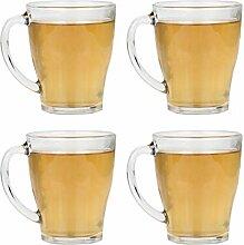Glas-Set mit Tee-/Kaffeebecher, mit Griff