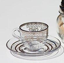 Glas silber und gold Espressotasse mit Verzierung