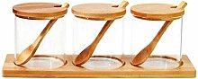 Glas Spice Jar, Lid Paket Zucker Und Salz Holz