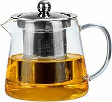 Glas-Teekanne, Glas-Teekanne mit Edelstahl-Sieb,