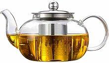 Glas-Teekanne, Glaskrug mit herausnehmbarem