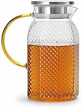Glas-Teekanne Liter Glaskaraffe mit Deckel Eistee